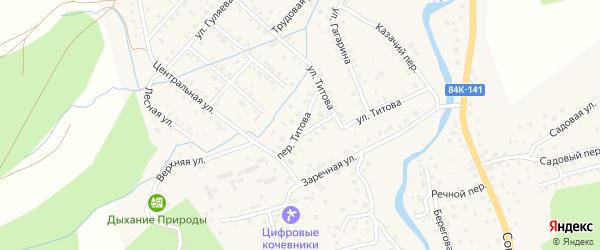 Переулок Титова на карте села Кызыла-Озька с номерами домов