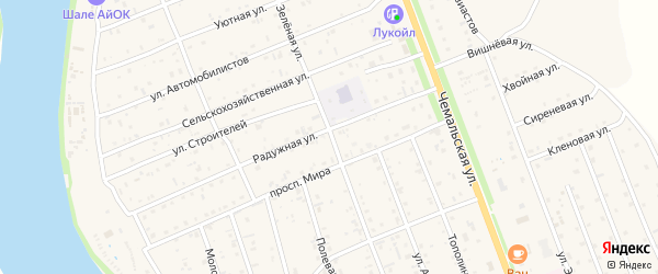 Зеленая улица на карте села Чемал с номерами домов
