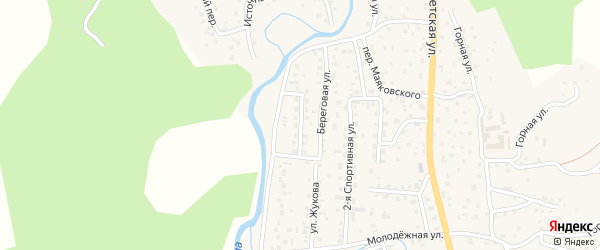 Береговой переулок на карте села Кызыла-Озька с номерами домов