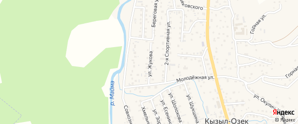 Улица Жукова на карте села Кызыла-Озька с номерами домов