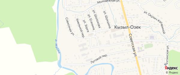 Совхозная улица на карте села Кызыла-Озька с номерами домов