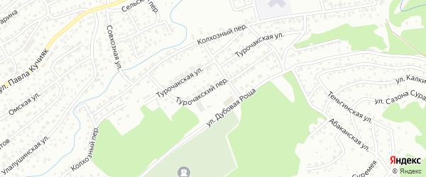Турочакский переулок на карте Горно-Алтайска с номерами домов