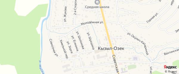 Улица Шукшина на карте села Кызыла-Озька с номерами домов