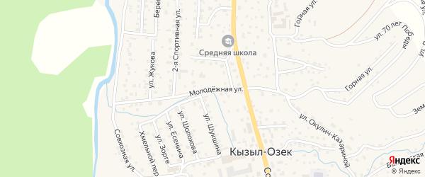Молодежная улица на карте села Кызыла-Озька с номерами домов