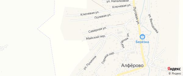 Майский переулок на карте поселка Алферово с номерами домов
