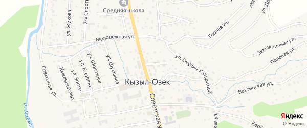 Центральный переулок на карте села Кызыла-Озька с номерами домов