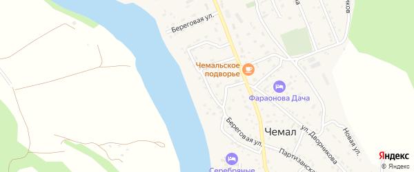 Береговая улица на карте села Чемал с номерами домов