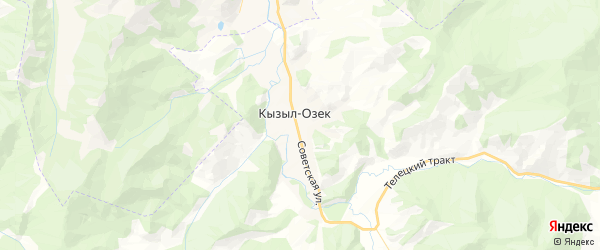 Карта Кызыл-Озекское сельского поселения республики Алтай с районами, улицами и номерами домов