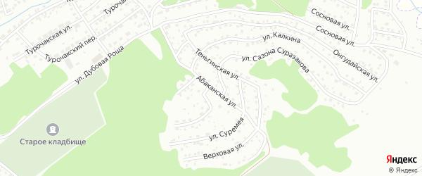 Абаканская улица на карте Горно-Алтайска с номерами домов
