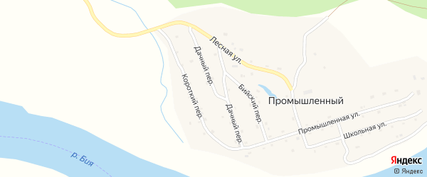 Дачный переулок на карте Промышленного поселка с номерами домов