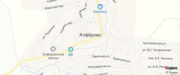 Горная улица на карте поселка Алферово с номерами домов