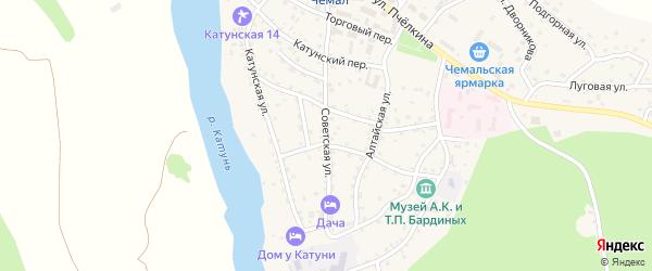 Советская улица на карте села Чемал с номерами домов