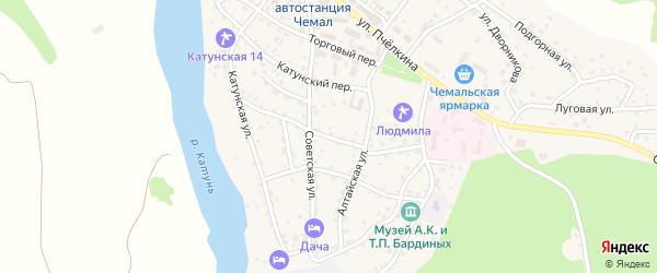 Советский переулок на карте села Чемал с номерами домов