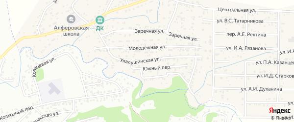 Улалушинская улица на карте поселка Алферово с номерами домов