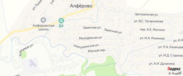 Молодежная улица на карте поселка Алферово с номерами домов