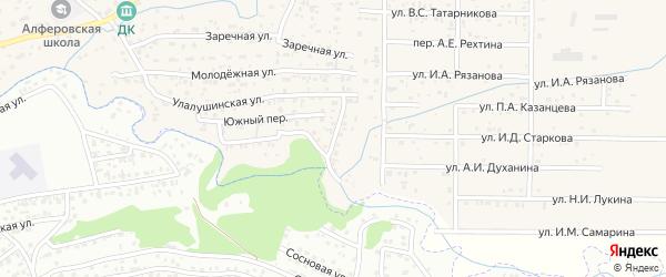 Полевой переулок на карте поселка Алферово с номерами домов
