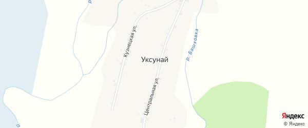Береговая улица на карте села Уксуная с номерами домов