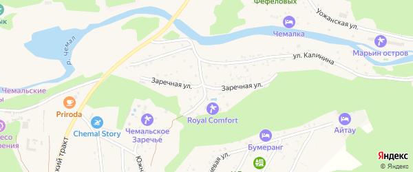 Заречная улица на карте села Чемал с номерами домов