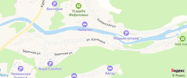 Улица Калинина на карте села Чемал с номерами домов