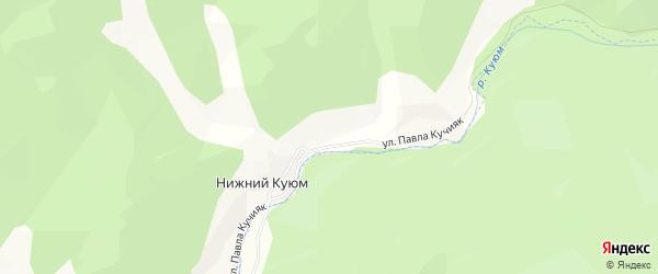 Карта села Нижнего Куюма в Алтае с улицами и номерами домов