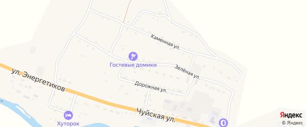 Зеленая улица на карте села Онгудая с номерами домов