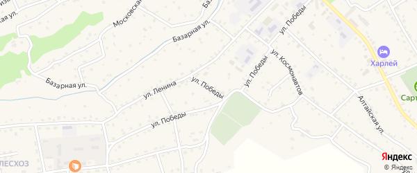 Улица Победы на карте села Онгудая с номерами домов