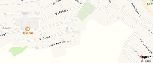 Переулок Мира на карте села Онгудая с номерами домов