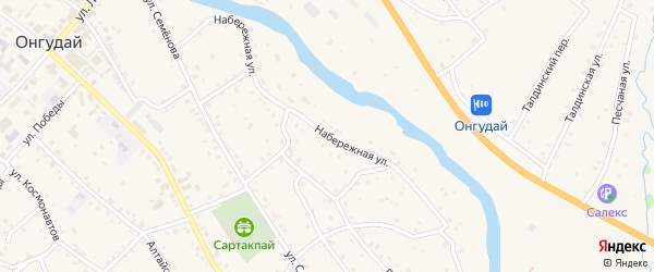 Набережная улица на карте села Онгудая с номерами домов