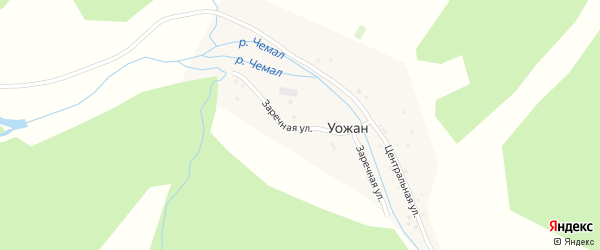 Заречная улица на карте села Уожана с номерами домов