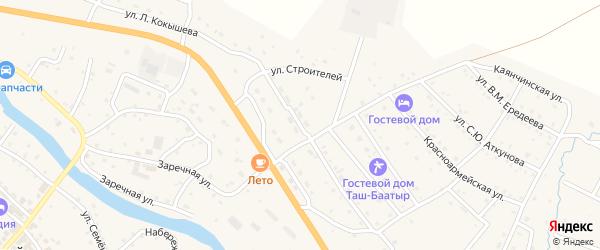Улица Строителей на карте села Онгудая с номерами домов