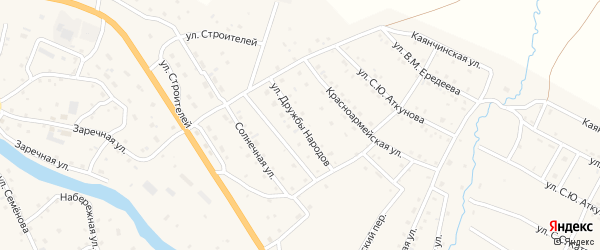 Улица Дружба народов на карте села Онгудая с номерами домов