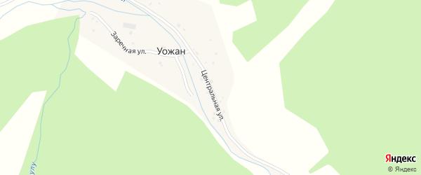 Центральная улица на карте села Уожана с номерами домов