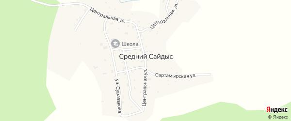 Новая улица на карте села Среднего Сайдыса с номерами домов