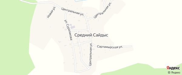 Заречная улица на карте села Среднего Сайдыса с номерами домов
