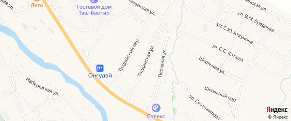 Талдинская улица на карте села Онгудая с номерами домов