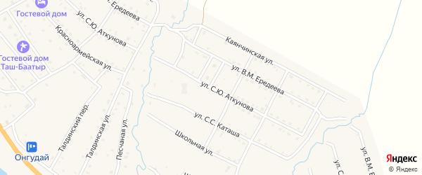Улица С.Ю.Аткунова на карте села Онгудая с номерами домов