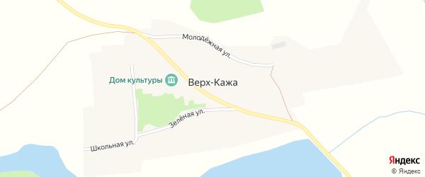 Зеленая улица на карте села Верха-Кажи с номерами домов