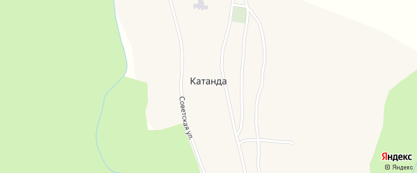 Зеленая улица на карте села Катанды с номерами домов