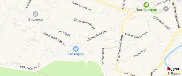 Юбилейная улица на карте Красногорского села с номерами домов