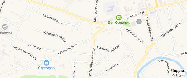 Мартовский переулок на карте Красногорского села с номерами домов
