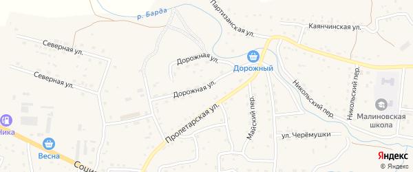 Дорожная улица на карте Красногорского села с номерами домов