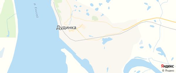 Карта Дудинки с районами, улицами и номерами домов: Дудинка на карте России