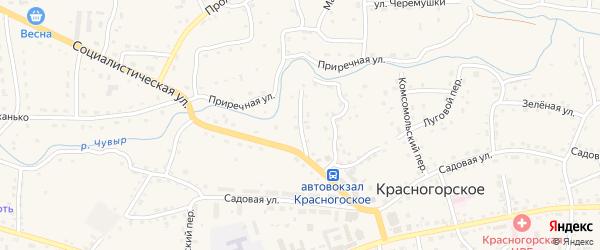 Пионерский переулок на карте Красногорского села с номерами домов
