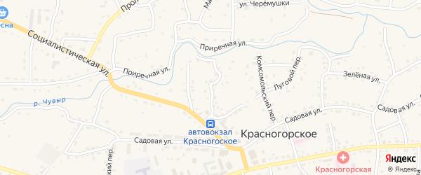 Малиновый переулок на карте Красногорского села с номерами домов