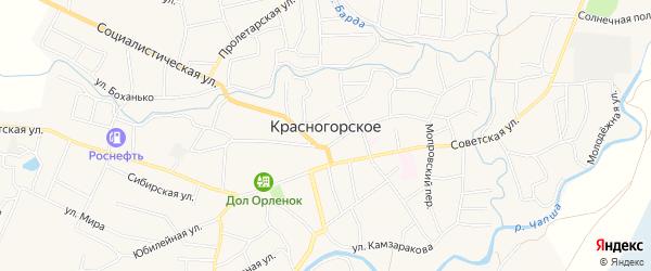Карта Красногорского села в Алтайском крае с улицами и номерами домов