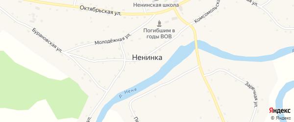 Хлебоприемный переулок на карте села Ненинки с номерами домов