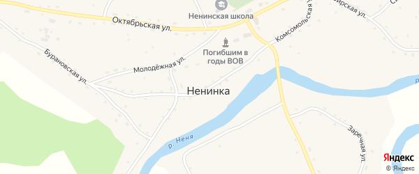 Комсомольская улица на карте села Ненинки с номерами домов