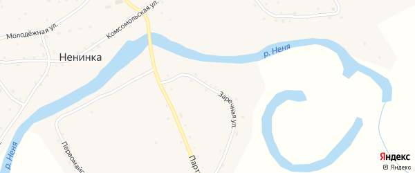 Заречная улица на карте села Ненинки с номерами домов