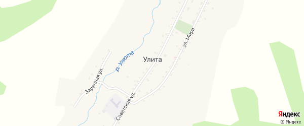 Заречная улица на карте села Улиты с номерами домов