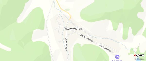 Карта села Урлу-Аспак в Алтае с улицами и номерами домов